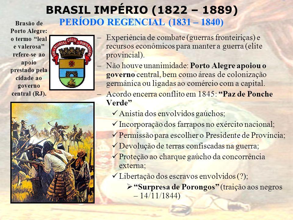 BRASIL IMPÉRIO (1822 – 1889) PERÍODO REGENCIAL (1831 – 1840) –Experiência de combate (guerras fronteiriças) e recursos econômicos para manter a guerra