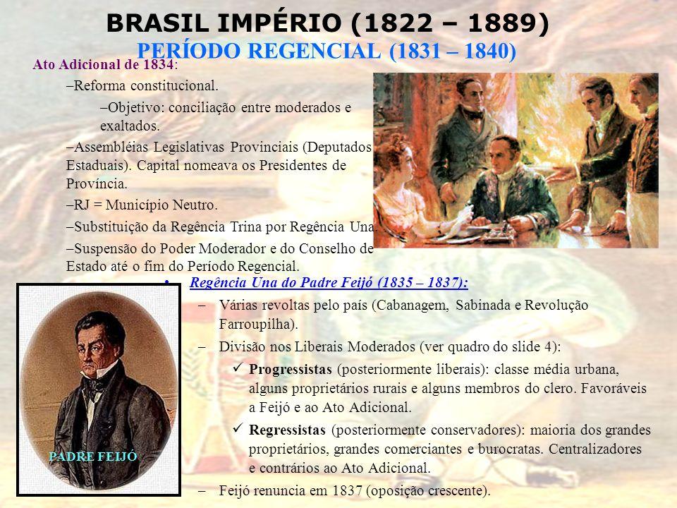 BRASIL IMPÉRIO (1822 – 1889) PERÍODO REGENCIAL (1831 – 1840) Regência Una do Padre Feijó (1835 – 1837): –Várias revoltas pelo país (Cabanagem, Sabinad