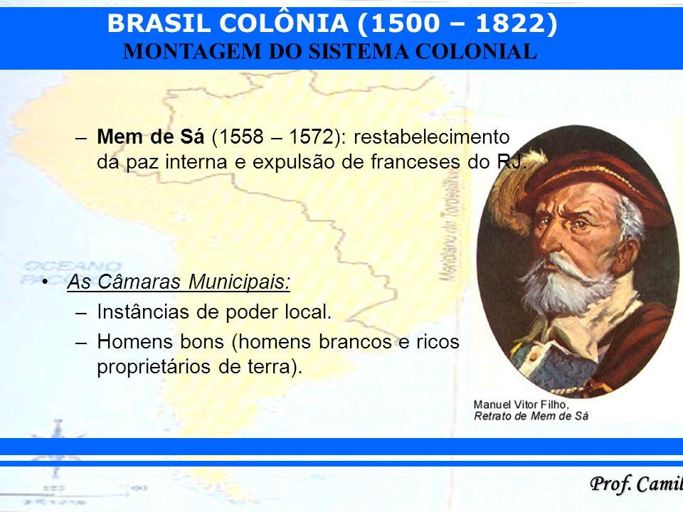 BRASIL COLÔNIA (1500 – 1822) Prof. Camilo MONTAGEM DO SISTEMA COLONIAL –Mem de Sá (1558 – 1572): restabelecimento da paz interna e expulsão de frances
