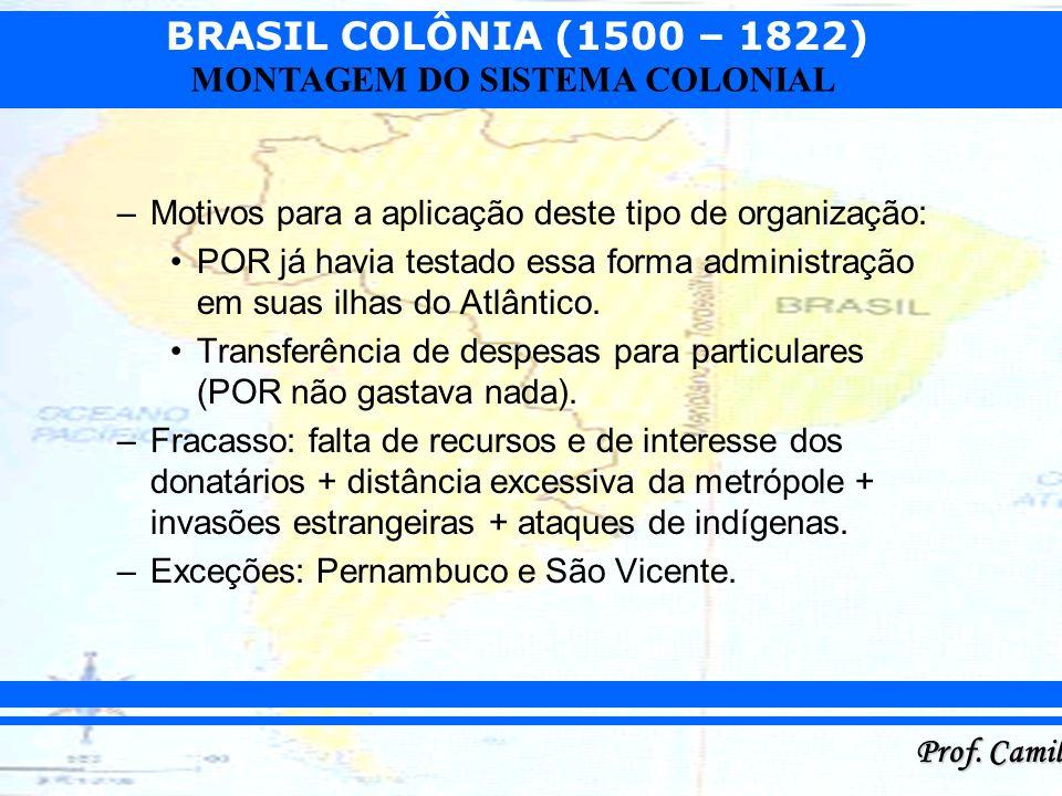 BRASIL COLÔNIA (1500 – 1822) Prof. Camilo MONTAGEM DO SISTEMA COLONIAL –Motivos para a aplicação deste tipo de organização: POR já havia testado essa