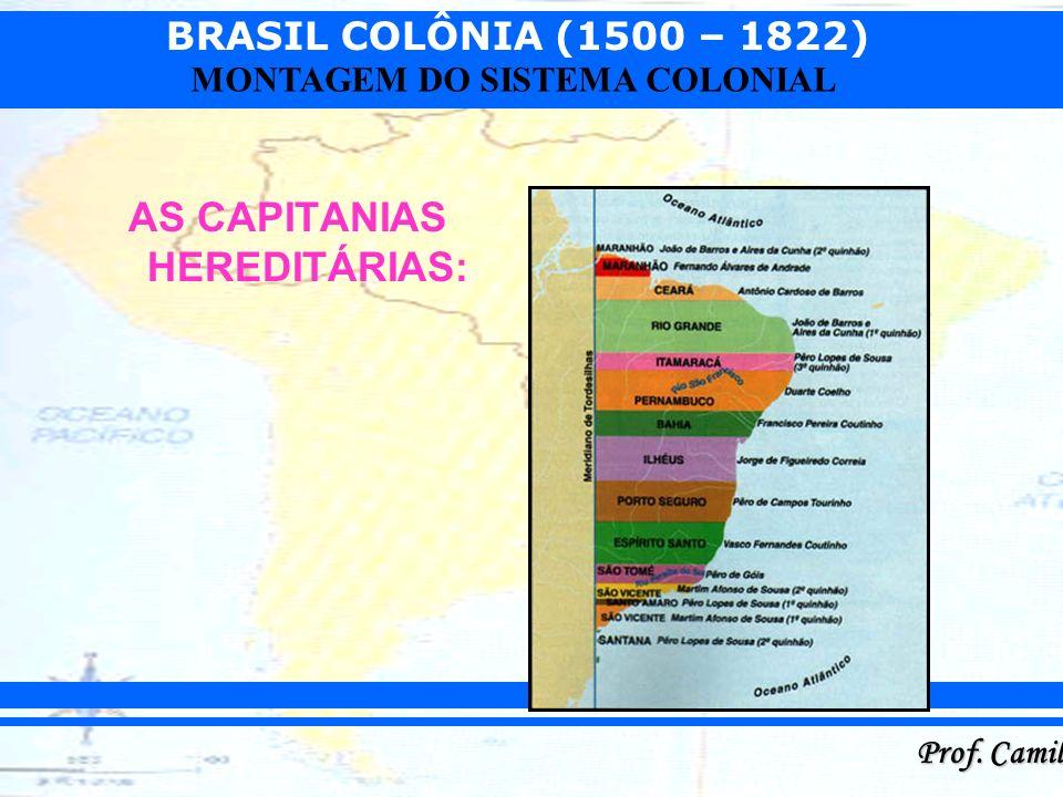 BRASIL COLÔNIA (1500 – 1822) Prof. Camilo MONTAGEM DO SISTEMA COLONIAL AS CAPITANIAS HEREDITÁRIAS: