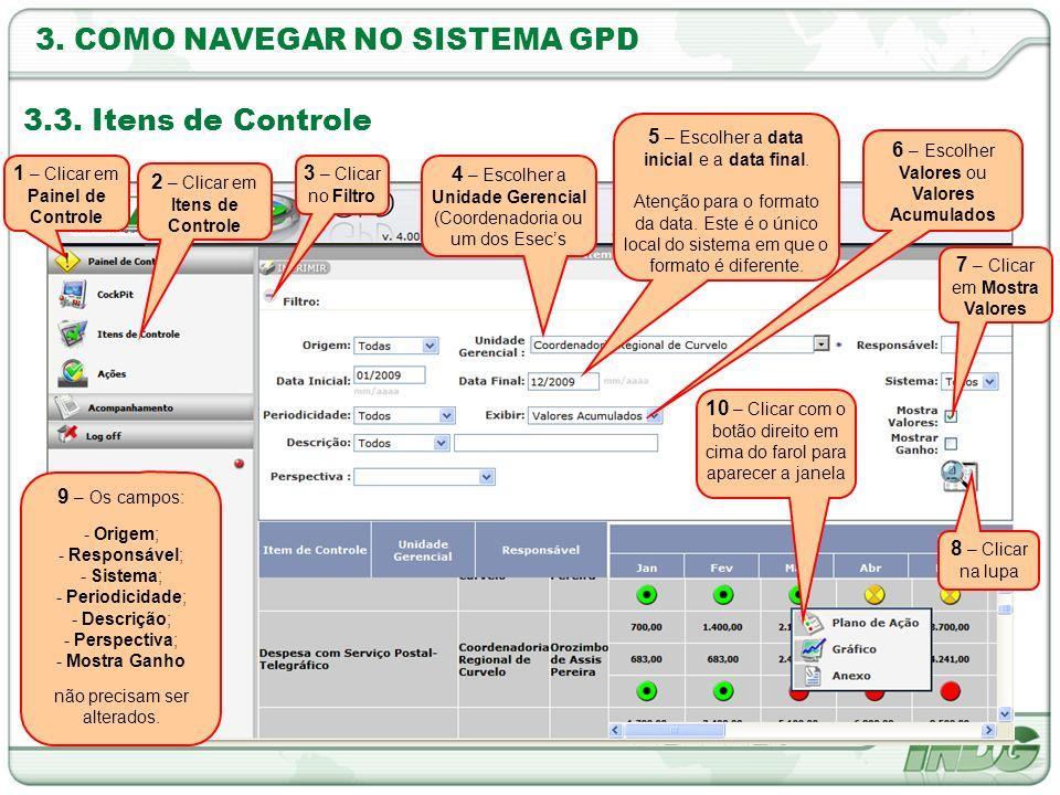 3. COMO NAVEGAR NO SISTEMA GPD 3.3. Itens de Controle 3 – Clicar no Filtro 2 – Clicar em Itens de Controle 4 – Escolher a Unidade Gerencial (Coordenad