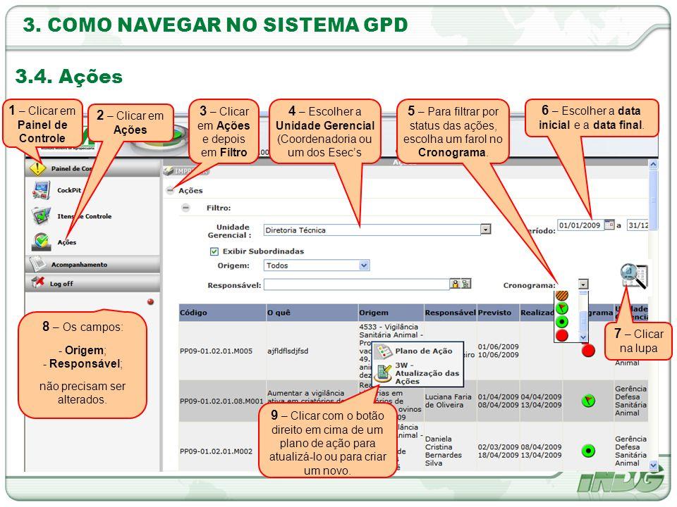 3. COMO NAVEGAR NO SISTEMA GPD 3.4. Ações 3 – Clicar em Ações e depois em Filtro 2 – Clicar em Ações 4 – Escolher a Unidade Gerencial (Coordenadoria o