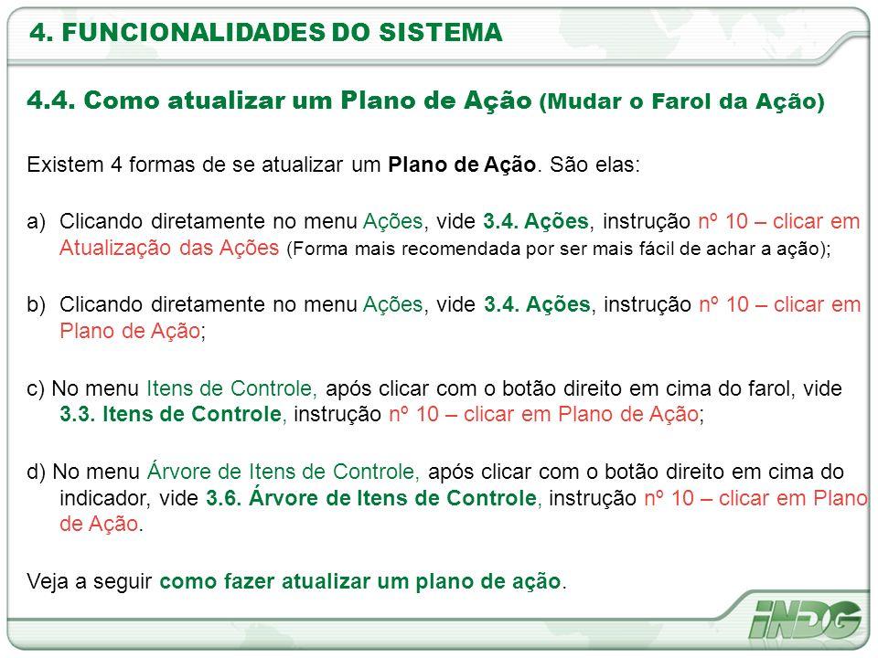 4. FUNCIONALIDADES DO SISTEMA 4.4. Como atualizar um Plano de Ação (Mudar o Farol da Ação) Existem 4 formas de se atualizar um Plano de Ação. São elas