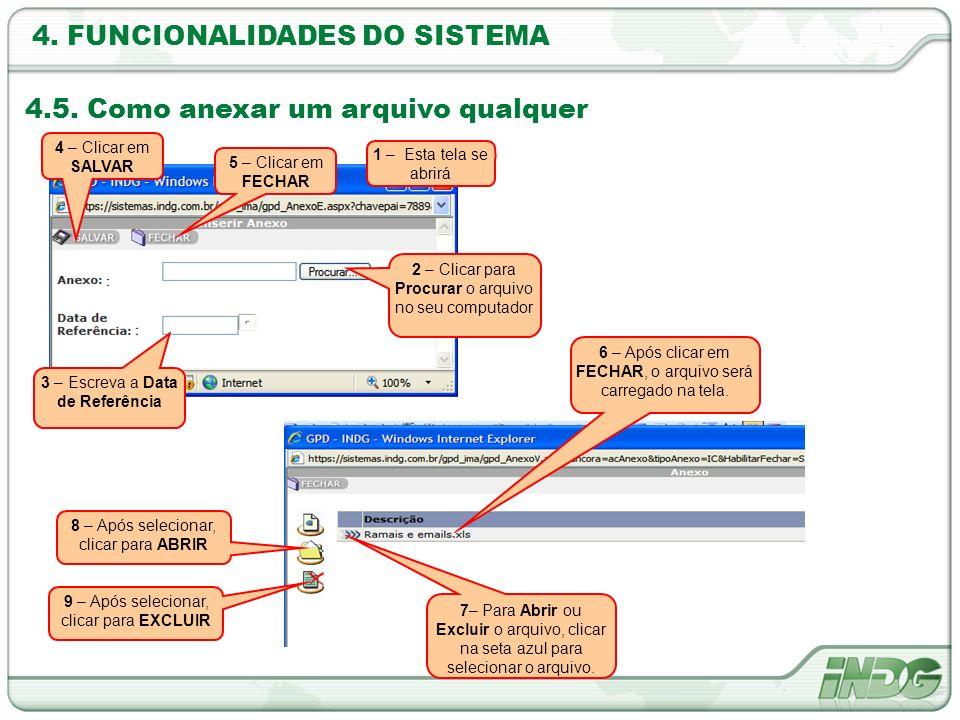 4. FUNCIONALIDADES DO SISTEMA 4.5. Como anexar um arquivo qualquer 1 – Esta tela se abrirá 2 – Clicar para Procurar o arquivo no seu computador 3 – Es
