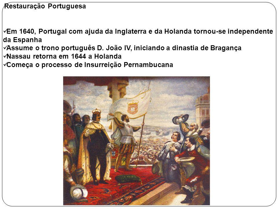 Restauração Portuguesa Em 1640, Portugal com ajuda da Inglaterra e da Holanda tornou-se independente da Espanha Assume o trono português D. João IV, i