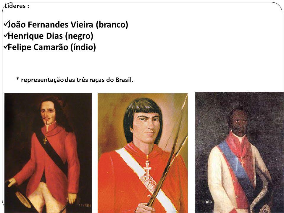 Líderes : João Fernandes Vieira (branco) Henrique Dias (negro) Felipe Camarão (índio) * representação das três raças do Brasil.