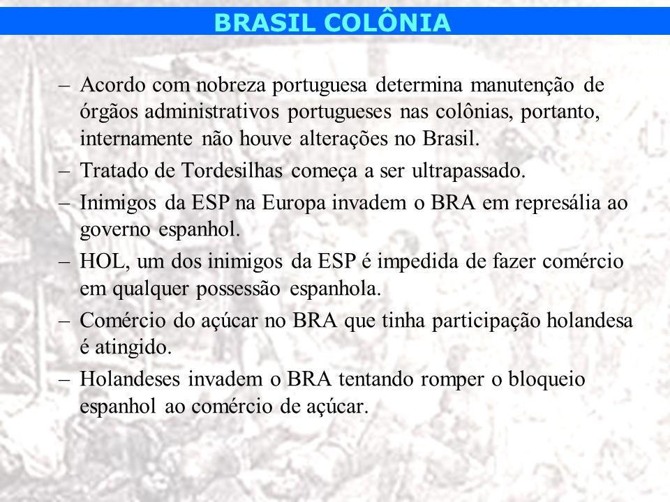 BRASIL COLÔNIA –Acordo com nobreza portuguesa determina manutenção de órgãos administrativos portugueses nas colônias, portanto, internamente não houv