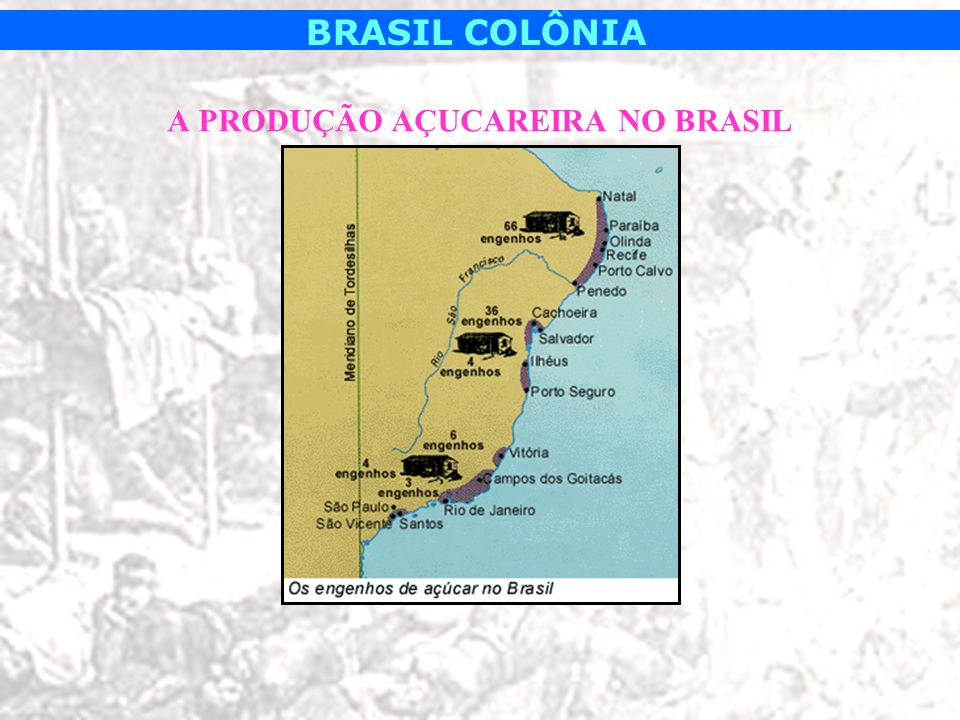 BRASIL COLÔNIA Engenhos (unidade produtiva básica): –Casa Grande (residência do senhor de engenho e família).