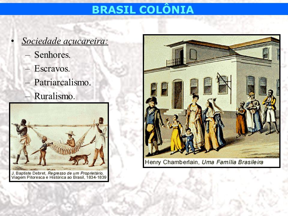 BRASIL COLÔNIA Sociedade açucareira: –Senhores. –Escravos. –Patriarcalismo. –Ruralismo.