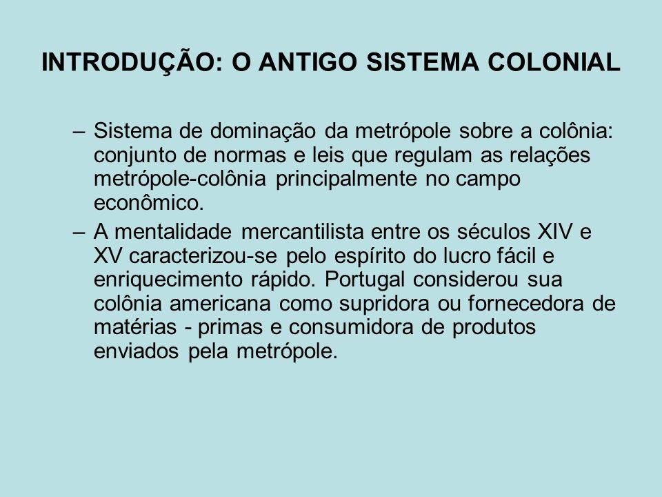 INTRODUÇÃO: O ANTIGO SISTEMA COLONIAL –Sistema de dominação da metrópole sobre a colônia: conjunto de normas e leis que regulam as relações metrópole-colônia principalmente no campo econômico.