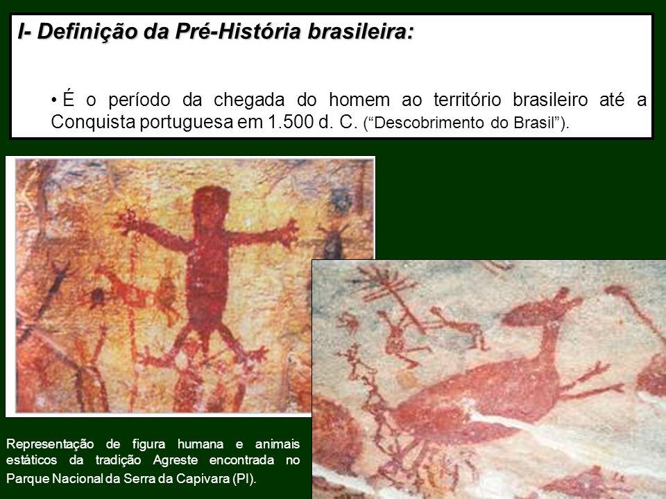 I- Definição da Pré-História brasileira: É o período da chegada do homem ao território brasileiro até a Conquista portuguesa em 1.500 d. C. (Descobrim