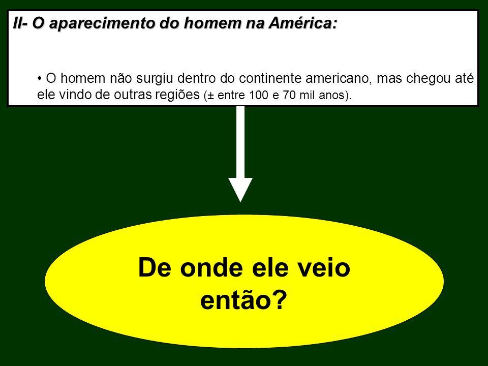 II- O aparecimento do homem na América: O homem não surgiu dentro do continente americano, mas chegou até ele vindo de outras regiões (± entre 100 e 7