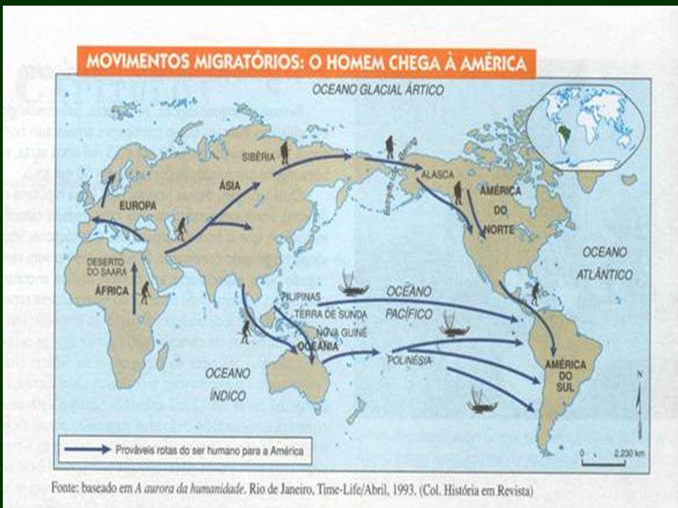 II-a) Hipóteses do aparecimento do homem na América: Corrente asiática (± 12.000 a. C.). Hipóteses sobre a chegada do homem na América: Via terrestre