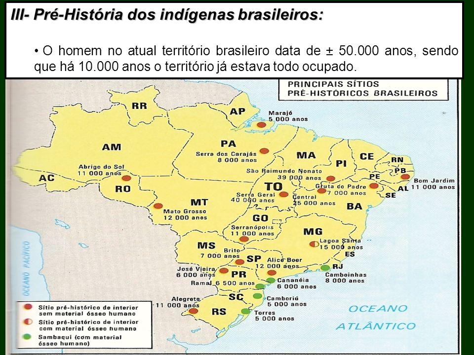 III- Pré-História dos indígenas brasileiros: O homem no atual território brasileiro data de ± 50.000 anos, sendo que há 10.000 anos o território já es