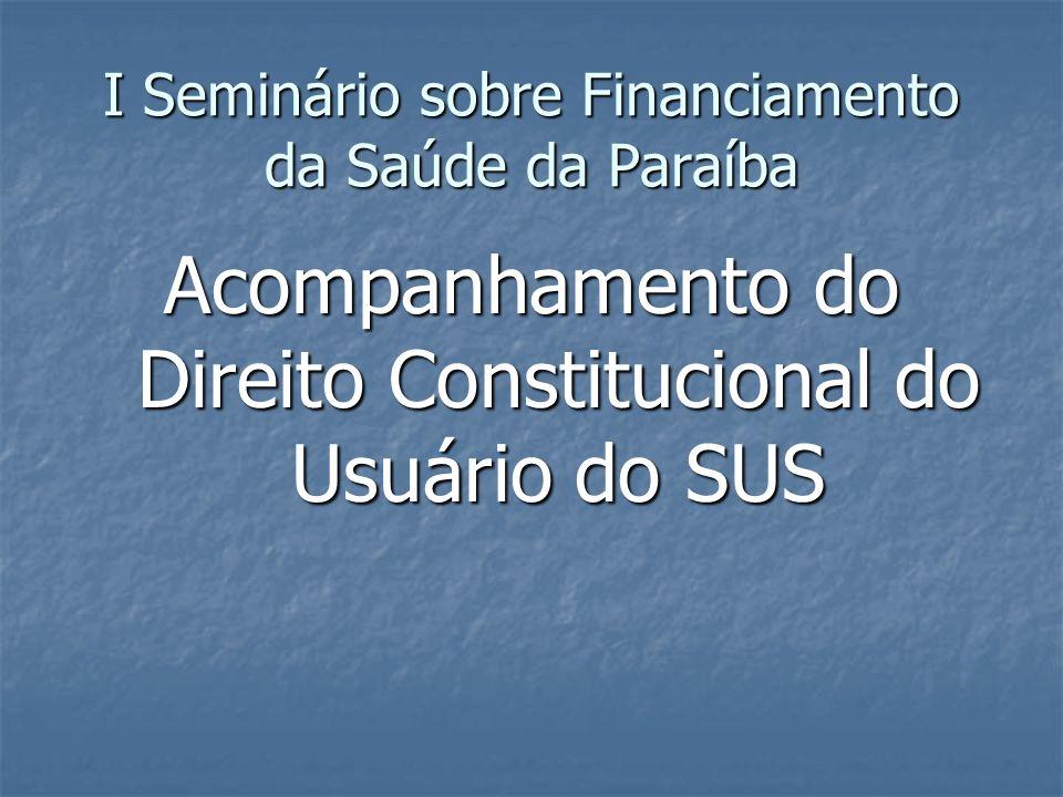 I Seminário sobre Financiamento da Saúde da Paraíba Acompanhamento do Direito Constitucional do Usuário do SUS