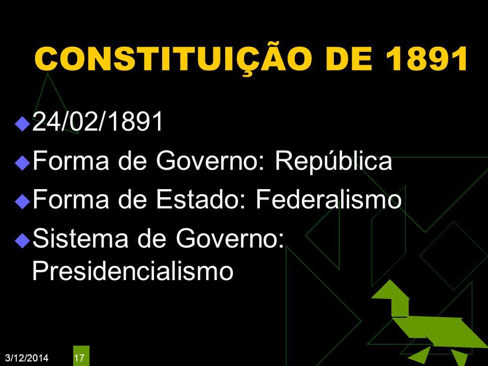 3/12/2014 17 CONSTITUIÇÃO DE 1891 24/02/1891 Forma de Governo: República Forma de Estado: Federalismo Sistema de Governo: Presidencialismo