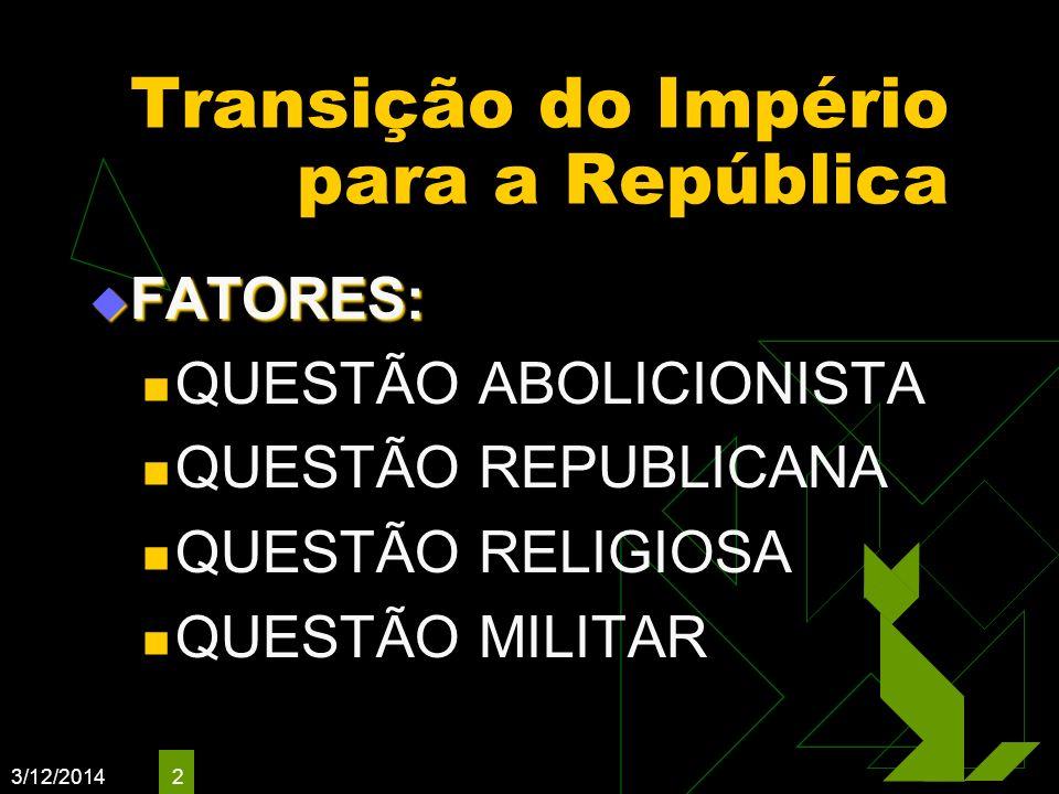3/12/2014 2 Transição do Império para a República FATORES: FATORES: QUESTÃO ABOLICIONISTA QUESTÃO REPUBLICANA QUESTÃO RELIGIOSA QUESTÃO MILITAR