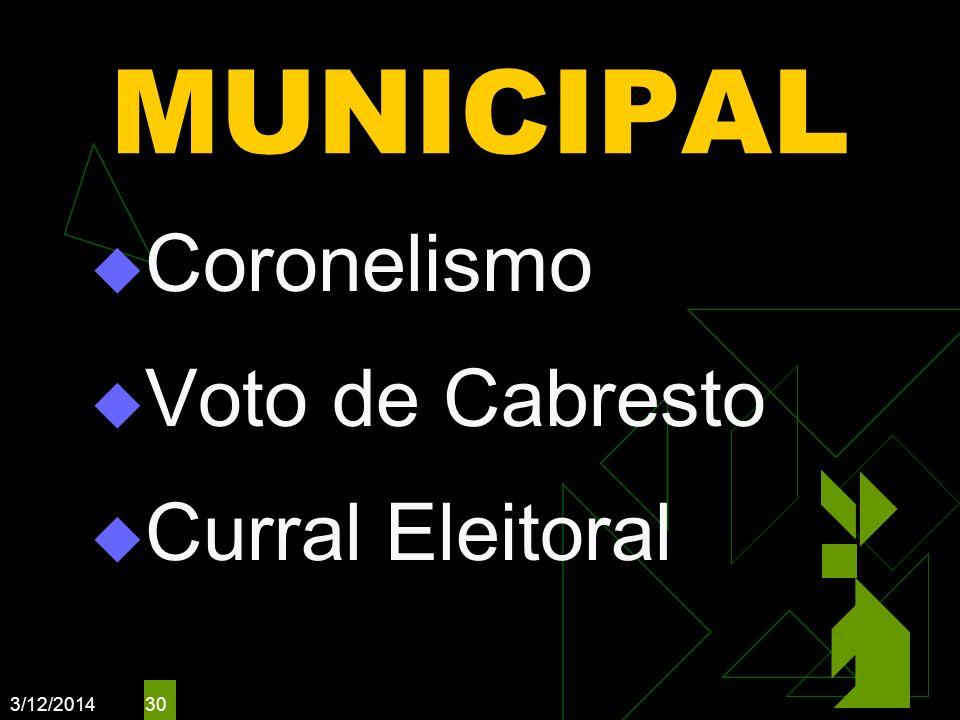 3/12/2014 30 MUNICIPAL Coronelismo Voto de Cabresto Curral Eleitoral