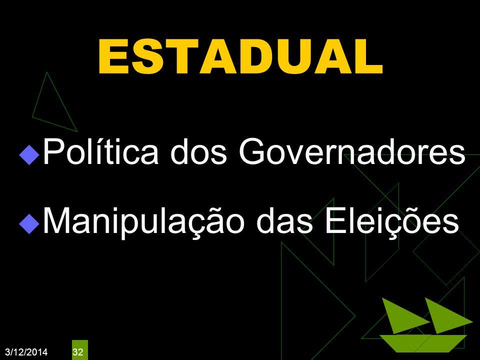 3/12/2014 32 ESTADUAL Política dos Governadores Manipulação das Eleições