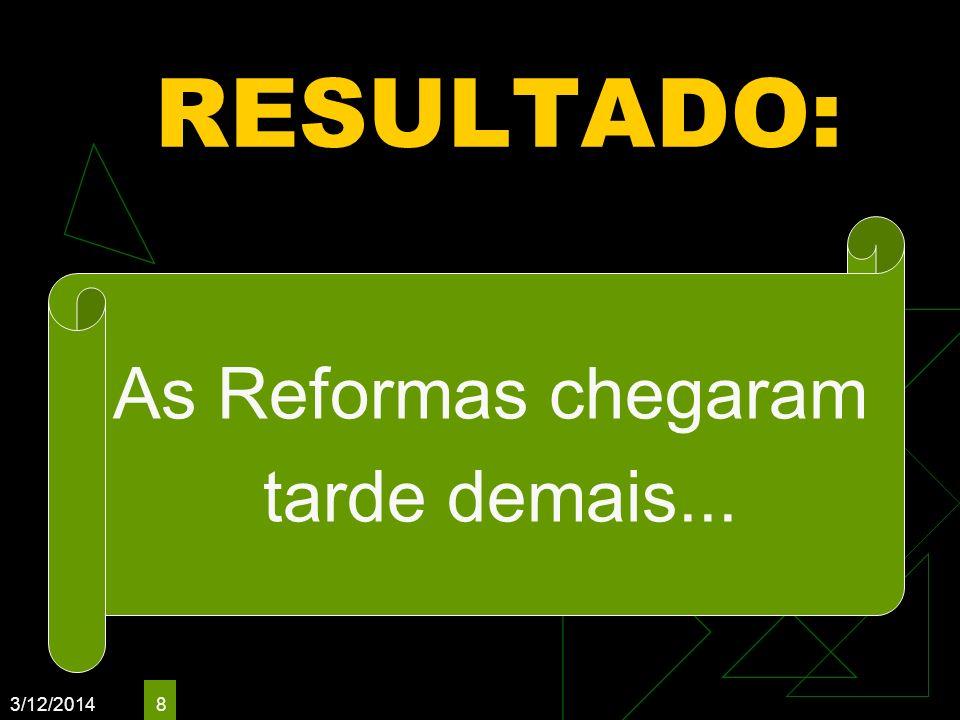 3/12/2014 8 RESULTADO: As Reformas chegaram tarde demais...