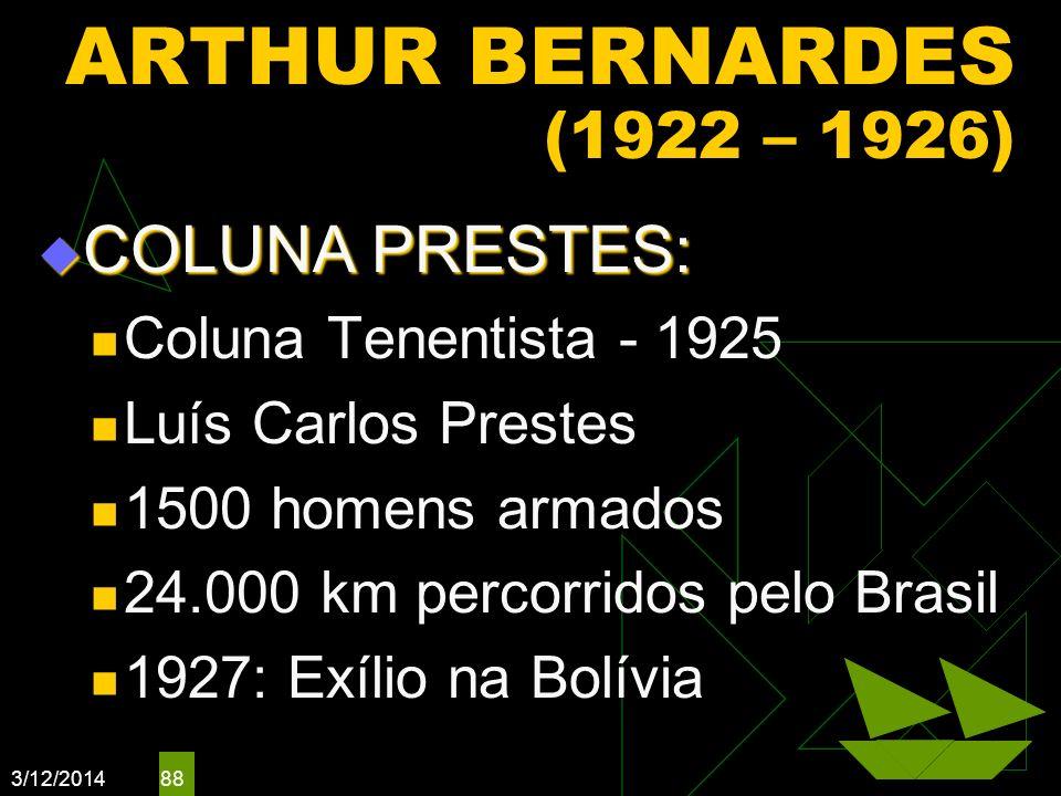 3/12/2014 88 ARTHUR BERNARDES (1922 – 1926) COLUNA PRESTES: COLUNA PRESTES: Coluna Tenentista - 1925 Luís Carlos Prestes 1500 homens armados 24.000 km