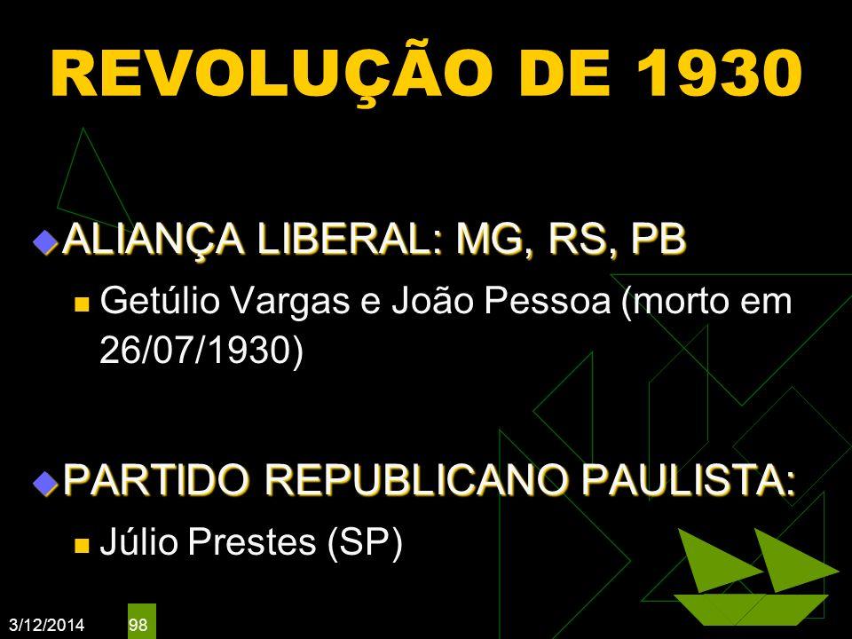 3/12/2014 98 REVOLUÇÃO DE 1930 ALIANÇA LIBERAL: MG, RS, PB ALIANÇA LIBERAL: MG, RS, PB Getúlio Vargas e João Pessoa (morto em 26/07/1930) PARTIDO REPU