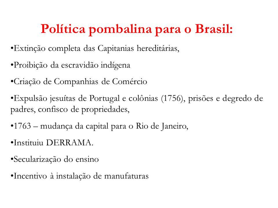 Política pombalina para o Brasil: Extinção completa das Capitanias hereditárias, Proibição da escravidão indígena Criação de Companhias de Comércio Ex