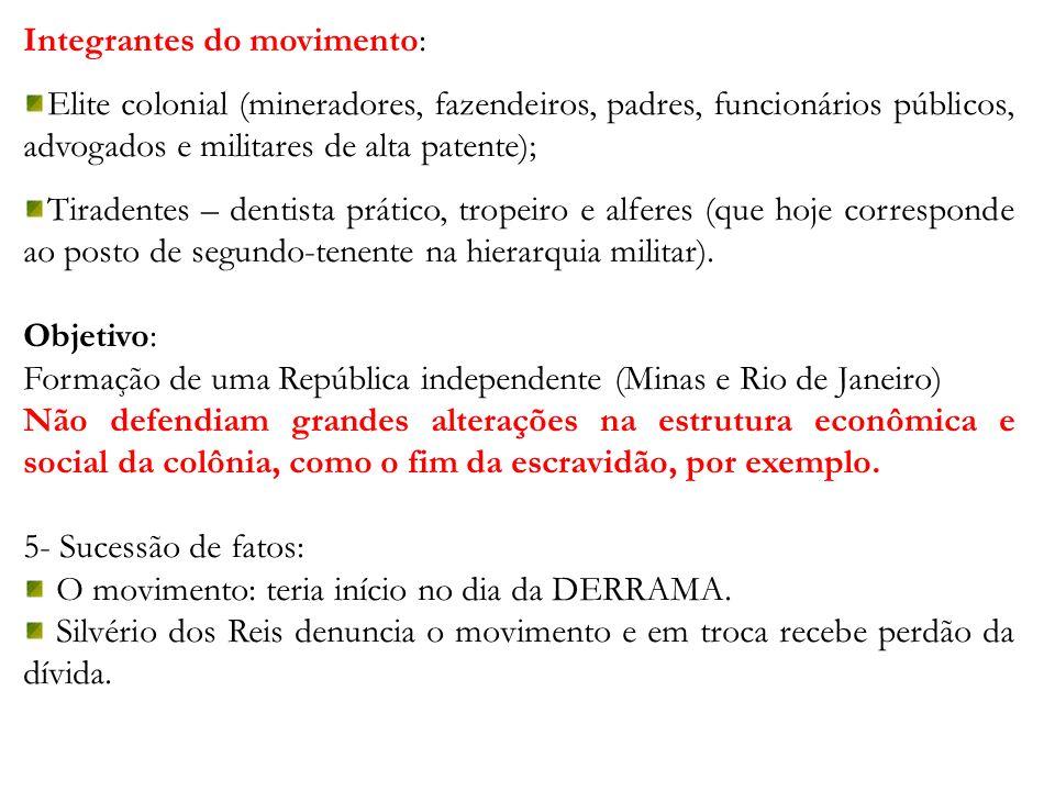 Integrantes do movimento: Elite colonial (mineradores, fazendeiros, padres, funcionários públicos, advogados e militares de alta patente); Tiradentes