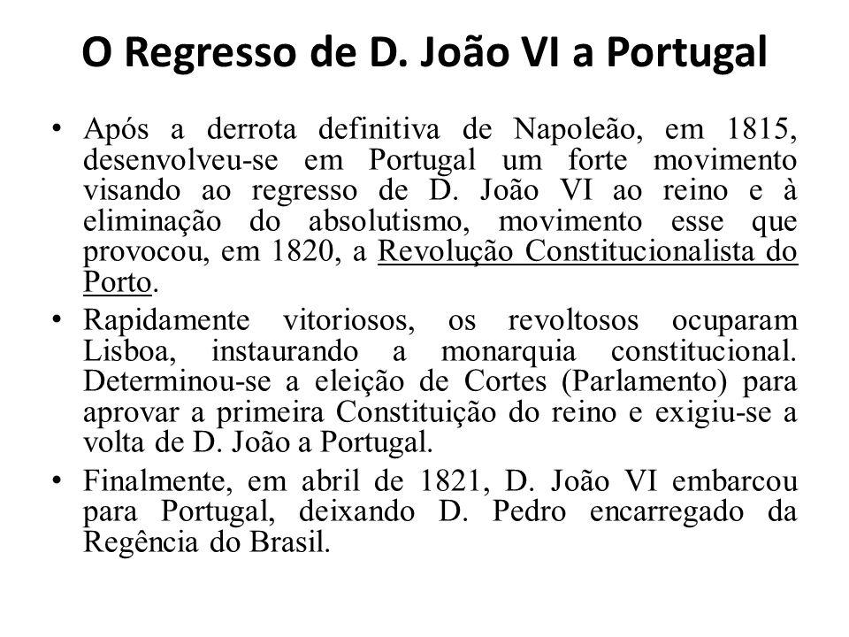 O Regresso de D. João VI a Portugal Após a derrota definitiva de Napoleão, em 1815, desenvolveu-se em Portugal um forte movimento visando ao regresso