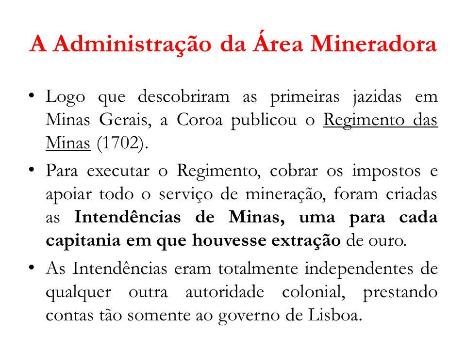 A Administração da Área Mineradora Logo que descobriram as primeiras jazidas em Minas Gerais, a Coroa publicou o Regimento das Minas (1702). Para exec