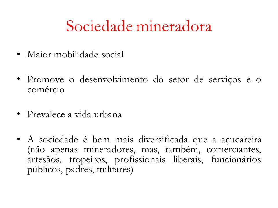 Sociedade mineradora Maior mobilidade social Promove o desenvolvimento do setor de serviços e o comércio Prevalece a vida urbana A sociedade é bem mais diversificada que a açucareira (não apenas mineradores, mas, também, comerciantes, artesãos, tropeiros, profissionais liberais, funcionários públicos, padres, militares)