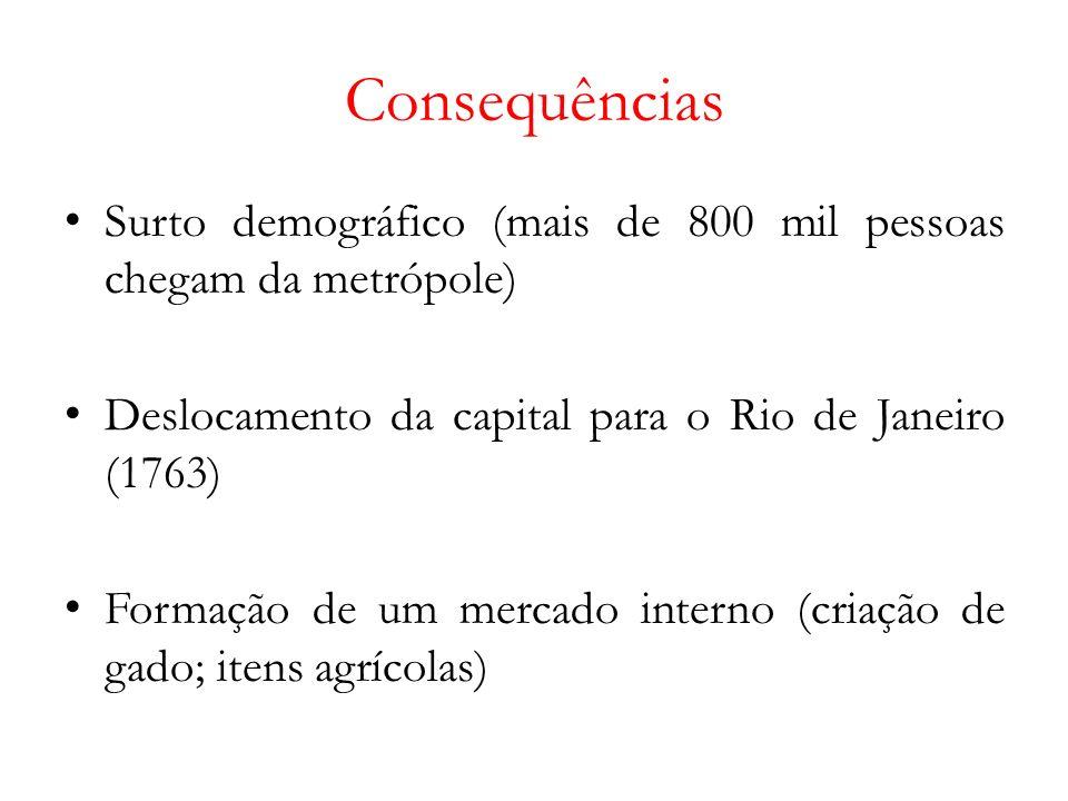 Consequências Surto demográfico (mais de 800 mil pessoas chegam da metrópole) Deslocamento da capital para o Rio de Janeiro (1763) Formação de um mercado interno (criação de gado; itens agrícolas)