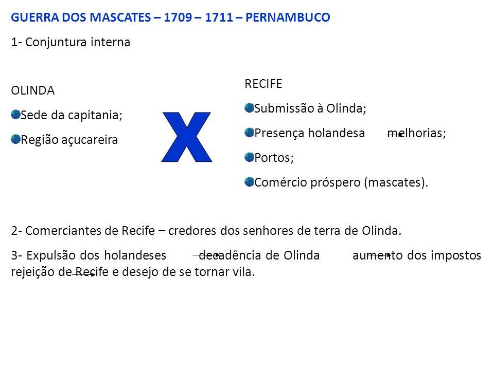 GUERRA DOS MASCATES – 1709 – 1711 – PERNAMBUCO 1- Conjuntura interna OLINDA Sede da capitania; Região açucareira RECIFE Submissão à Olinda; Presença holandesa melhorias; Portos; Comércio próspero (mascates).