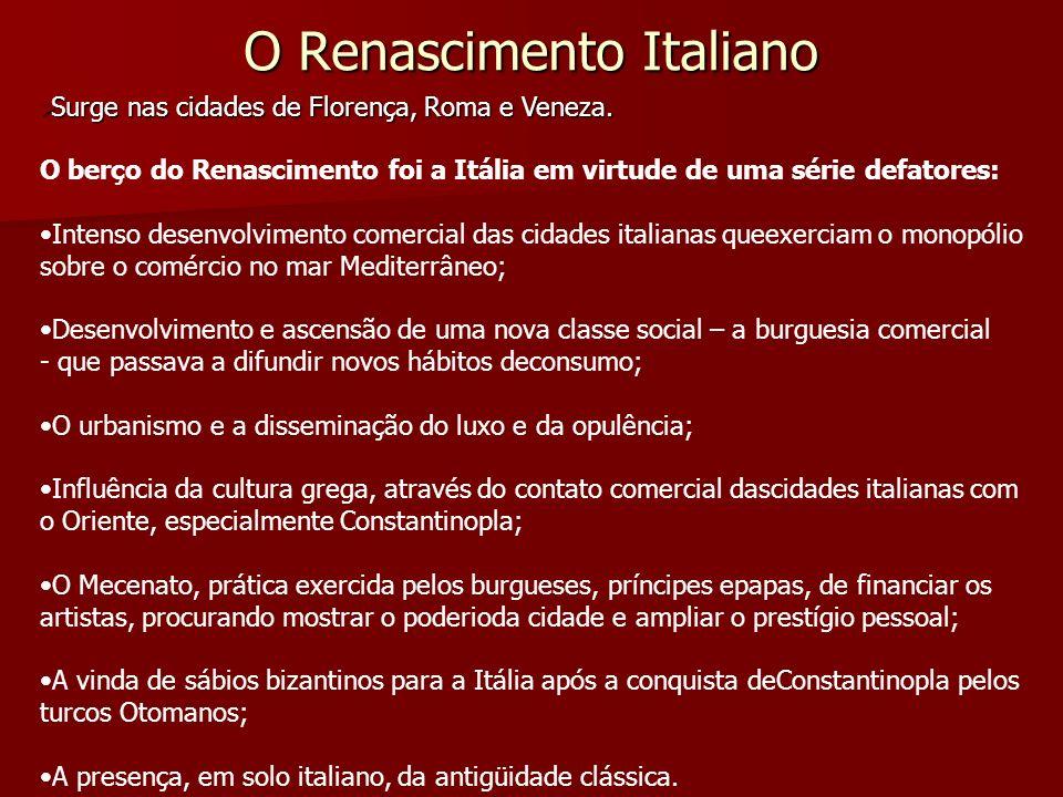O Renascimento Italiano Surge nas cidades de Florença, Roma e Veneza. Surge nas cidades de Florença, Roma e Veneza. O berço do Renascimento foi a Itál