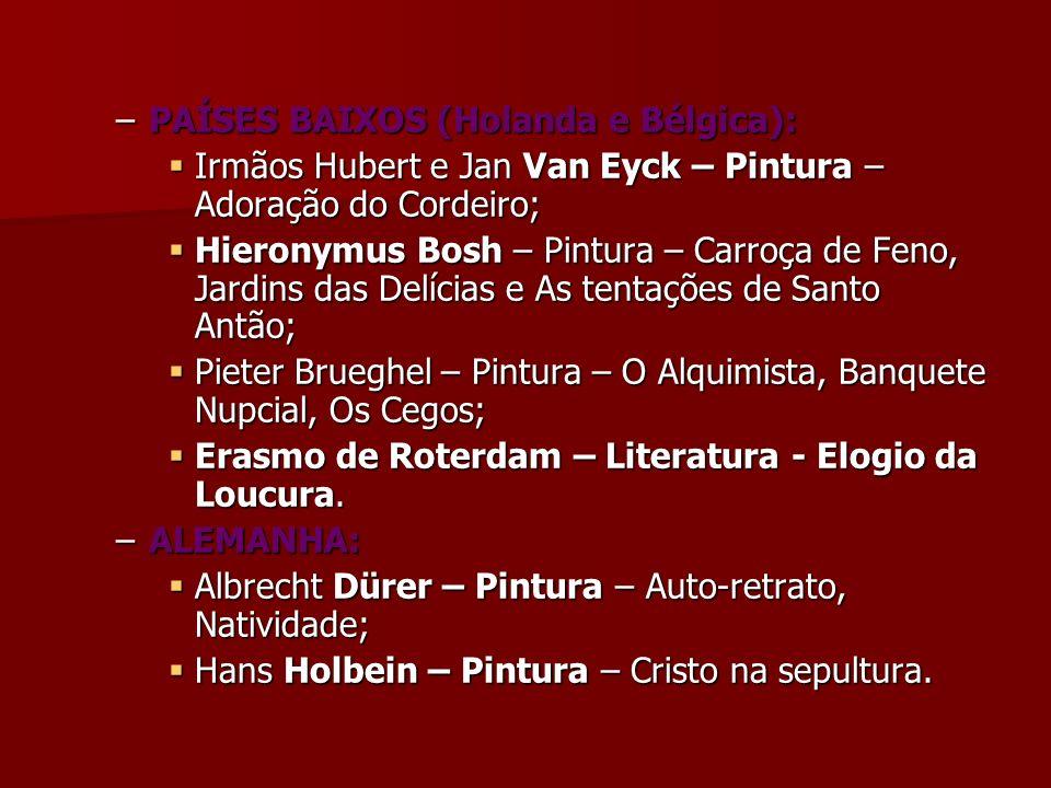 –PAÍSES BAIXOS (Holanda e Bélgica): Irmãos Hubert e Jan Van Eyck – Pintura – Adoração do Cordeiro; Irmãos Hubert e Jan Van Eyck – Pintura – Adoração d