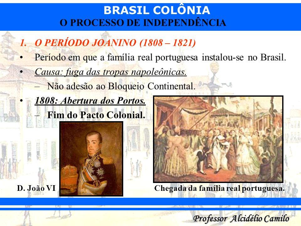 BRASIL COLÔNIA Professor Alcidélio Camilo O PROCESSO DE INDEPENDÊNCIA 1.O PERÍODO JOANINO (1808 – 1821) Período em que a família real portuguesa insta