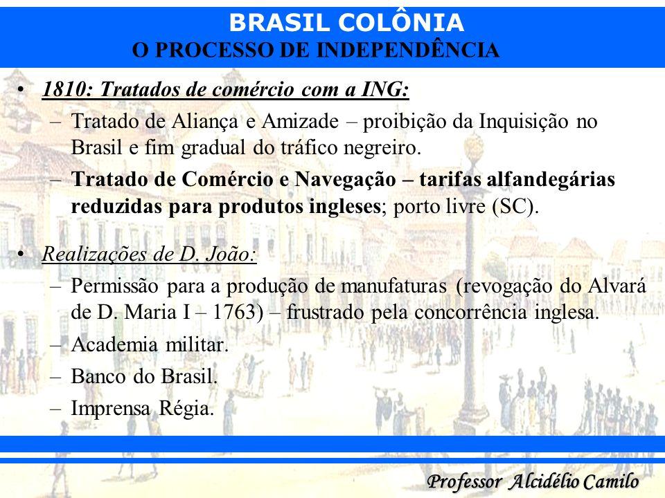 BRASIL COLÔNIA Professor Alcidélio Camilo O PROCESSO DE INDEPENDÊNCIA 1810: Tratados de comércio com a ING: –Tratado de Aliança e Amizade – proibição