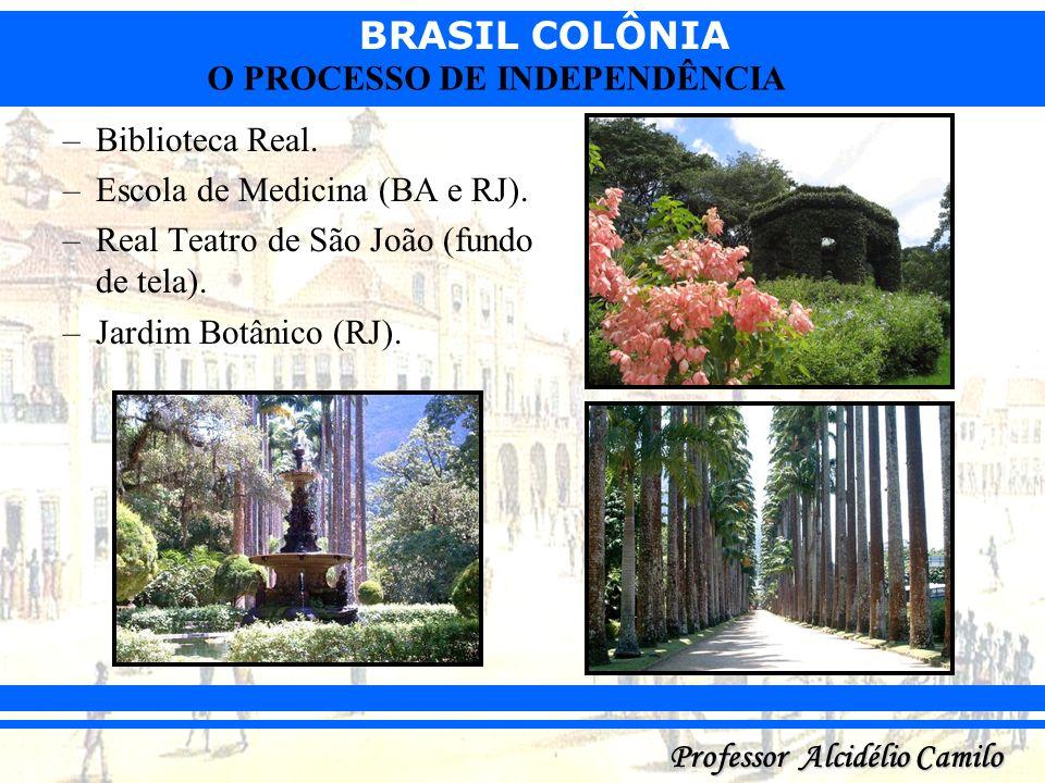 BRASIL COLÔNIA Professor Alcidélio Camilo O PROCESSO DE INDEPENDÊNCIA –Biblioteca Real. –Escola de Medicina (BA e RJ). –Real Teatro de São João (fundo