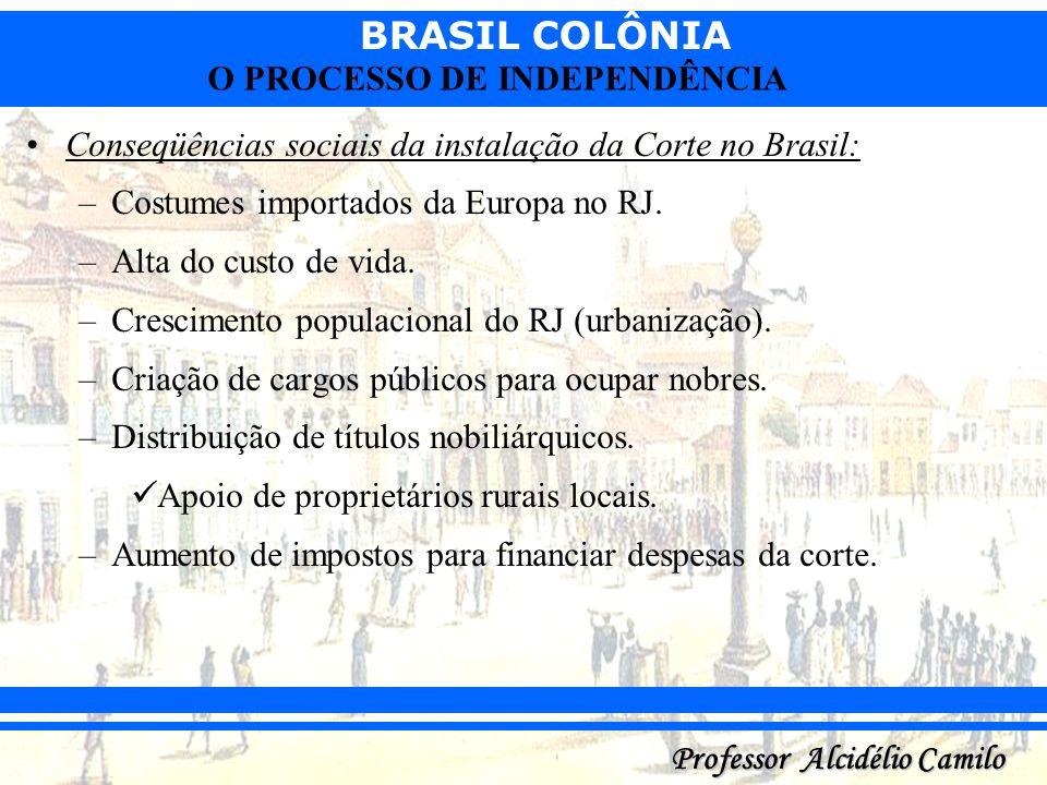 BRASIL COLÔNIA Professor Alcidélio Camilo O PROCESSO DE INDEPENDÊNCIA Conseqüências sociais da instalação da Corte no Brasil: –Costumes importados da
