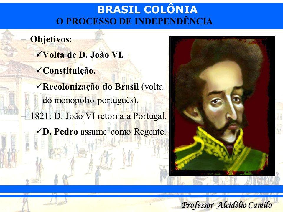 BRASIL COLÔNIA Professor Alcidélio Camilo O PROCESSO DE INDEPENDÊNCIA –Objetivos: Volta de D. João VI. Constituição. Recolonização do Brasil (volta do