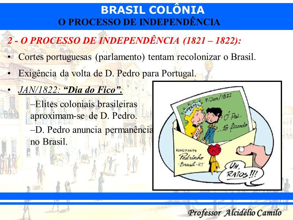 BRASIL COLÔNIA Professor Alcidélio Camilo O PROCESSO DE INDEPENDÊNCIA 2 - O PROCESSO DE INDEPENDÊNCIA (1821 – 1822): Cortes portuguesas (parlamento) t