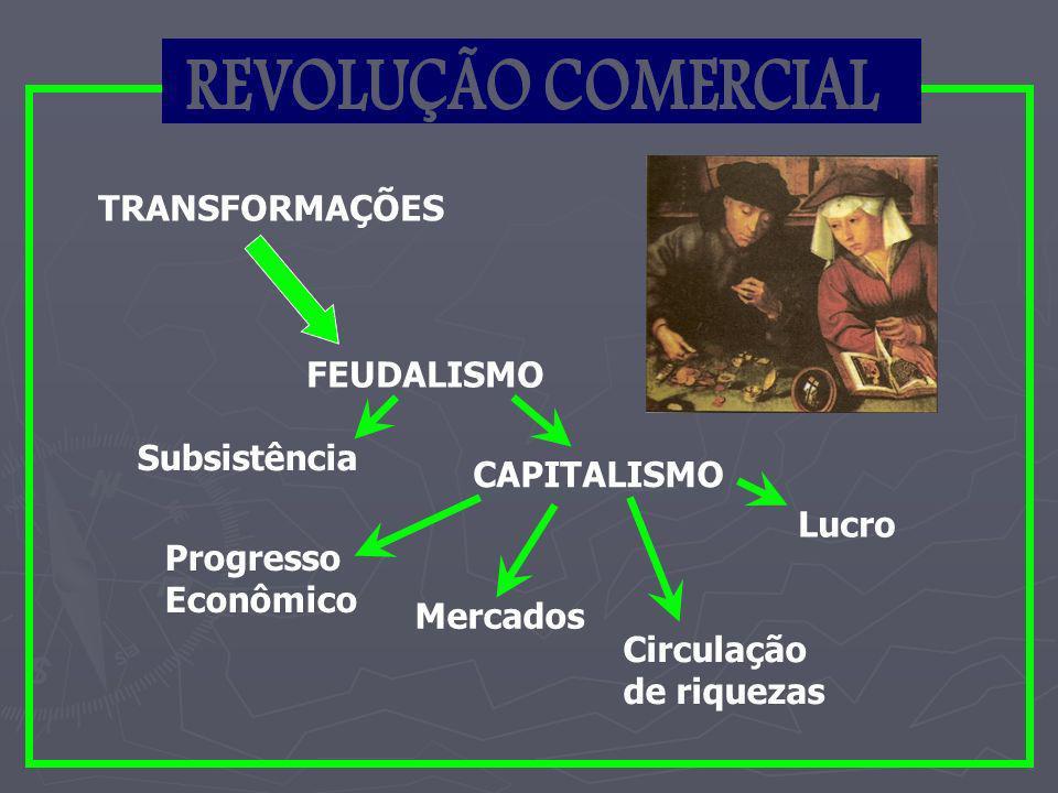 Transformações do século XV Quando se iniciaram as grandes navegações, no século XV, a Europa atravessava um período de profundas transformações nos setores econômico, social e político: Quando se iniciaram as grandes navegações, no século XV, a Europa atravessava um período de profundas transformações nos setores econômico, social e político: O início da Revolução Comercial; O início da Revolução Comercial; o crescimento da burguesia mercantil e financeira o crescimento da burguesia mercantil e financeira o processo de centralização monárquica.