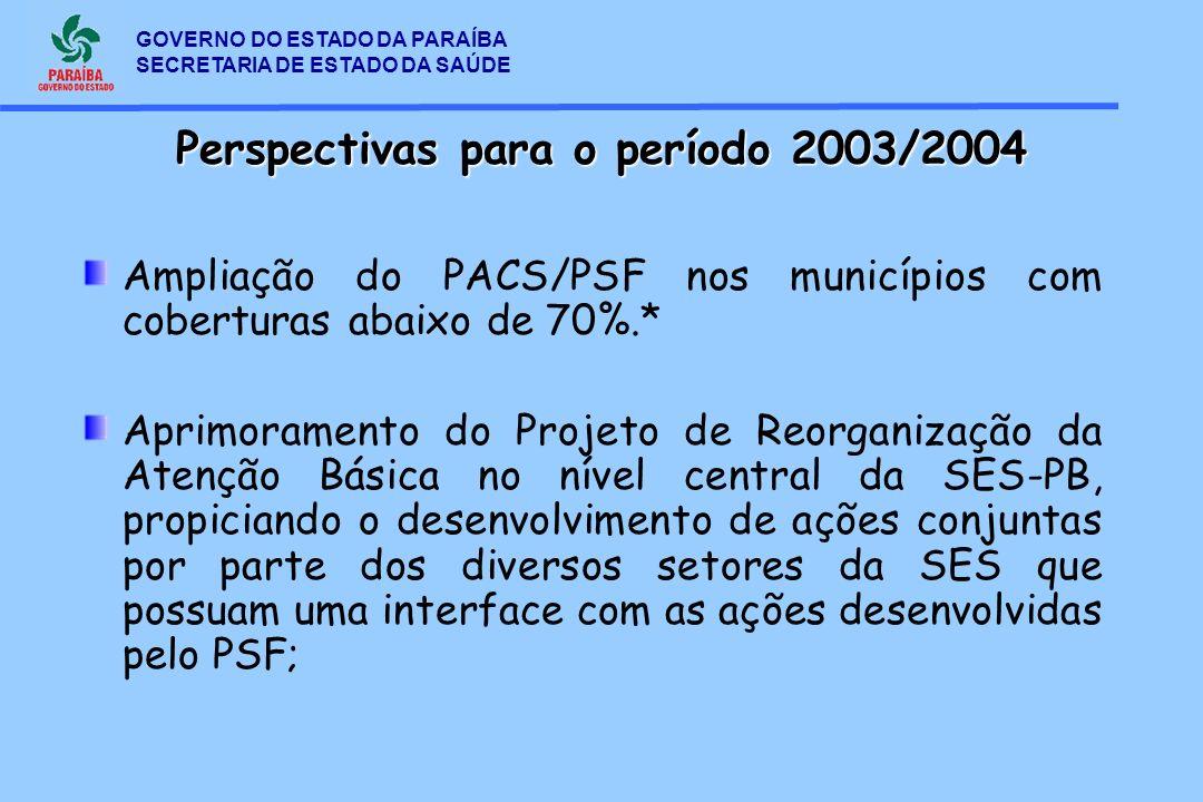 GOVERNO DO ESTADO DA PARAÍBA SECRETARIA DE ESTADO DA SAÚDE Ampliação do PACS/PSF nos municípios com coberturas abaixo de 70%.* Aprimoramento do Projet
