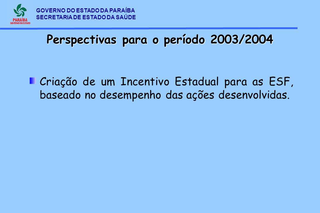 GOVERNO DO ESTADO DA PARAÍBA SECRETARIA DE ESTADO DA SAÚDE Criação de um Incentivo Estadual para as ESF, baseado no desempenho das ações desenvolvidas