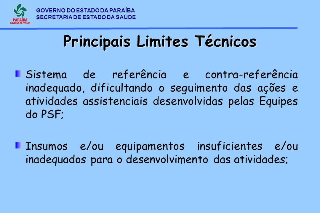 GOVERNO DO ESTADO DA PARAÍBA SECRETARIA DE ESTADO DA SAÚDE Principais Limites Técnicos Sistema de referência e contra-referência inadequado, dificulta