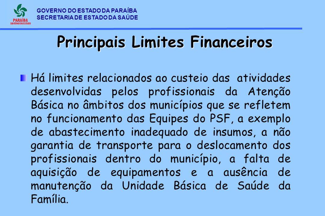 GOVERNO DO ESTADO DA PARAÍBA SECRETARIA DE ESTADO DA SAÚDE Principais Limites Financeiros Há limites relacionados ao custeio das atividades desenvolvi