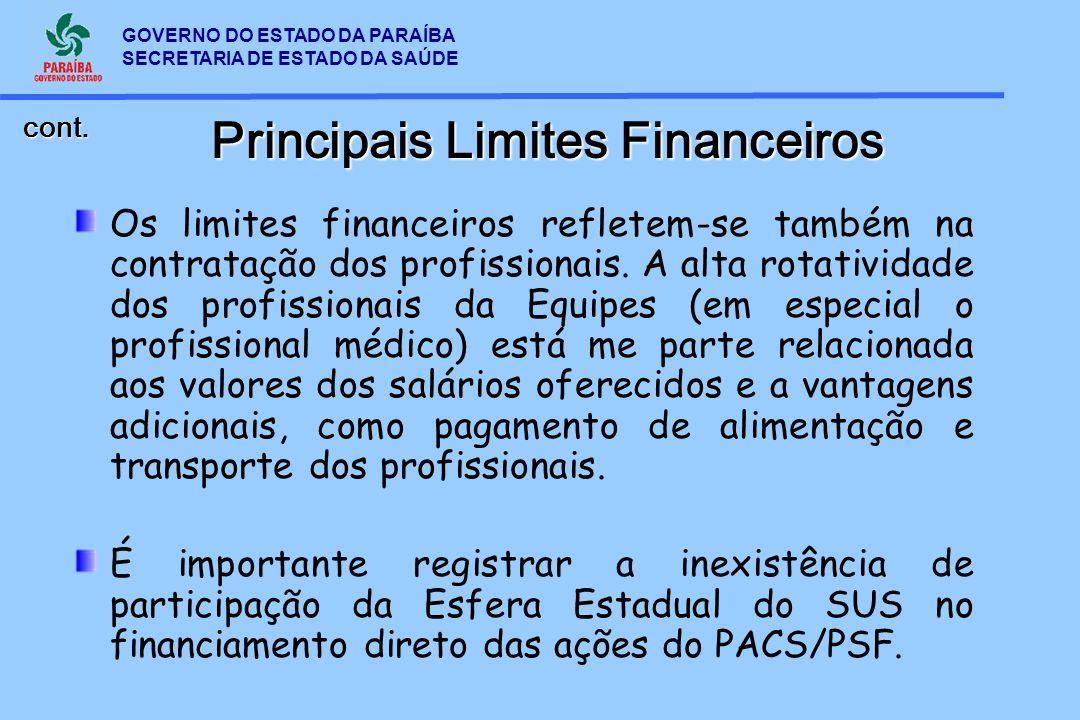 GOVERNO DO ESTADO DA PARAÍBA SECRETARIA DE ESTADO DA SAÚDE Principais Limites Financeiros Os limites financeiros refletem-se também na contratação dos