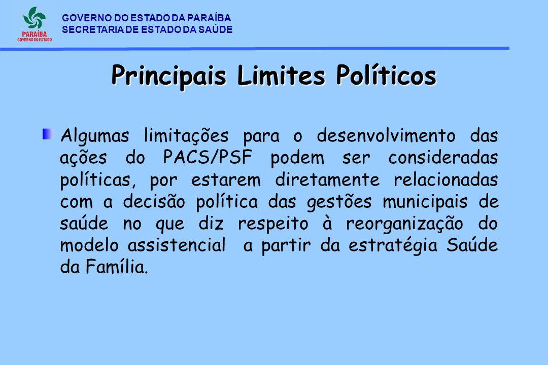 GOVERNO DO ESTADO DA PARAÍBA SECRETARIA DE ESTADO DA SAÚDE Principais Limites Políticos Algumas limitações para o desenvolvimento das ações do PACS/PS