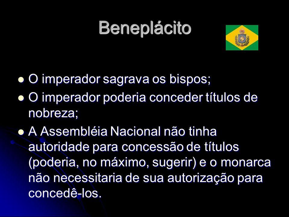 Beneplácito O imperador sagrava os bispos; O imperador sagrava os bispos; O imperador poderia conceder títulos de nobreza; O imperador poderia concede